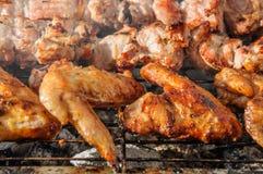 Chiken翼和水多的烤kebabs和在BBQ 库存图片