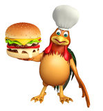 Chiken cartoon character with chef hat  and burger. 3d rendered illustration of chiken cartoon character with chef hat and burger Royalty Free Stock Photos