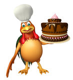 Chiken cartoon character with chef hat and cake Royalty Free Stock Image