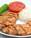 Chiken fryied piacevole con riso ed il pomodoro Fotografie Stock