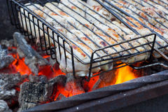 Chiken on the grill, fiery coals. Royalty Free Stock Photography