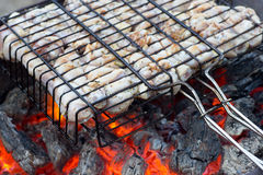 Chiken on the grill, fiery coals. Royalty Free Stock Photos