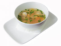 Chiken noodle soup with noisettes Royalty Free Stock Image