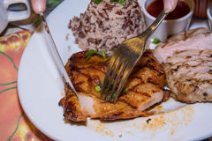 Chiken with pork chop Stock Photos