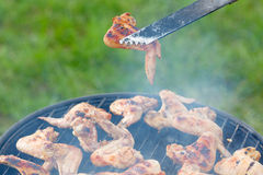 Chiken roasting on the grill barbeque bbq green Stock Images
