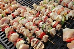 Chiken skewers Stock Photos