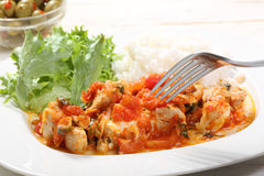 Chiken white meat with tomato sauce Stock Image