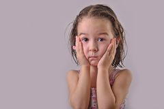 Chil girl with wet hair Royalty Free Stock Images