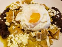 Chilaquiles in hot green sauce, cream, cheese and fried egg, traditional mexican food. Chilaquiles hot red sauce cream cheese  cuts traditional mexican food royalty free stock images