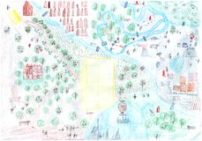 Child's drawing with map of ancient people villages Stock Photography