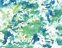 Child's painting. Five years old child's painting using plant leaf as brush Royalty Free Stock Image