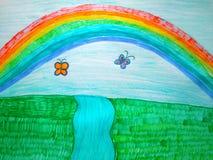 Child& x27; 在纸的s图画 Children& x27; s创造性 免版税库存图片