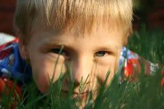 Child& x27; 在草的s面孔 库存图片