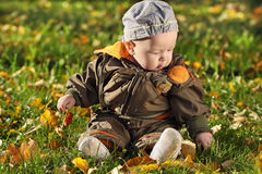 Child. The child sits on a green grass Royalty Free Stock Images