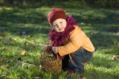 Child. Little girl squats and holds a basket with apples in a hand Stock Image