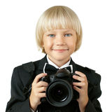 Child. The little children boy with camera, on white background, isolated stock photography