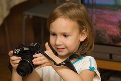 Child. With camera Royalty Free Stock Photo