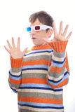 Child in 3d glasses. Has fear Royalty Free Stock Photos