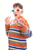 Child in 3d glasses. Has fear Royalty Free Stock Photography