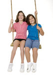 Cute Caucasian sisters playing on a wooden swing Royalty Free Stock Images