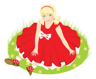 Child. Little girl in red dress Stock Photography