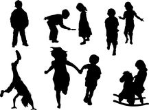 Child a. Set of playful children silhouettes. Vector illustration Stock Photos