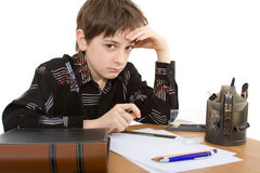 Child. With study of the difficulties on white background Stock Photo