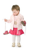 Child. With pink jacket. Isolated on white Stock Photo