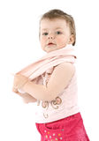 Child. With pink jacket. Isolated on white Stock Images