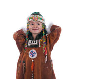 Child. Portrait child chukchi clad in national gown on white background Stock Photo