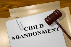 Child Abandonment concept. 3D illustration of CHILD ABANDONMENT title on legal document royalty free illustration