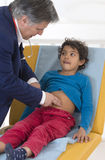 Child Abdominal examination because symptom of  Pain C Royalty Free Stock Images
