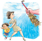 Child abuse. A mother courageously protect her son from child abuse Stock Photography