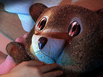 Child abuse. Close-up on the face of a crying teddy bear on a children bed, with the hand of the child resting on it. The eyes of the bear reflect the shape of a royalty free illustration