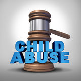 Child Abuse. Concept and criminal abusive mistreatment of children symbol as a justice judge gavel or mallet coming down on the words that represent the Stock Photos