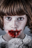 Child abuse concept, unhappy girl. Violence, despair. Royalty Free Stock Images