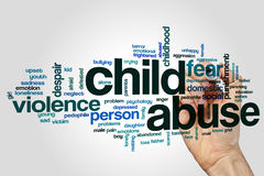 Child abuse word cloud concept on grey background.  Royalty Free Stock Photos