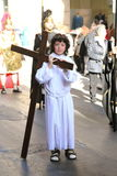 Child acting as Jesus in Palermo Easter Parade Stock Image