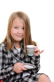 Child acting like young lady with tea Stock Photos