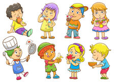 Child activities routines. Set of child activities routines Royalty Free Stock Photo