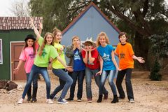 Child actors acting silly. Child actors at camp pose and act silly for the camera Stock Image