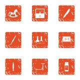 Child advance icons set, grunge style. Child advance icons set. Grunge set of 9 child advance vector icons for web isolated on white background Royalty Free Stock Image