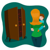 Child afraid of monsters in room cartoon vector Stock Photography