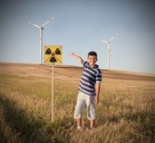 Child against nuclear energy. Royalty Free Stock Images