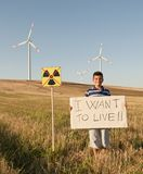Child against nuclear energy. Stock Photos