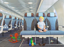 Child in the airplane Stock Photography