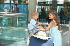 Child in the airport Royalty Free Stock Photo