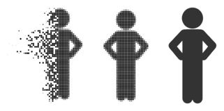 Disappearing Dot Halftone Child Akimbo Icon. Child akimbo icon in fractured, dotted halftone and original versions. Fragments are organized into vector vector illustration