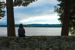 Child alone at the lake Royalty Free Stock Photography