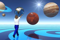 Child amongst planets. Abstract scene universe  executed in 3 D Royalty Free Stock Images